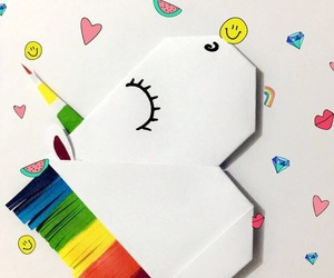 colors, origami, and unicorn image