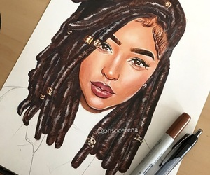 drawing, dreads, and hair image