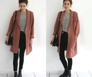 black, ‎trenchcoat, and brown image