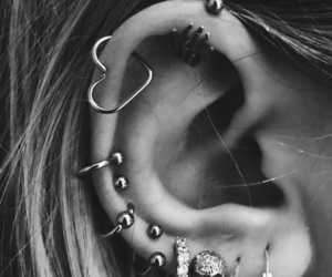 blackandwhite, ear, and earings image