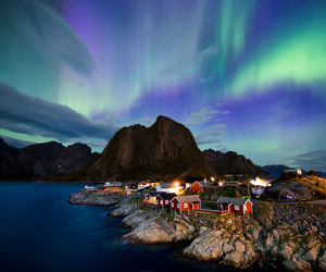 nature, northern lights, and lofoten islands image
