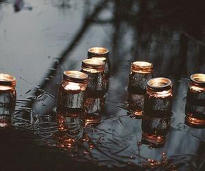 light, candle, and rain image