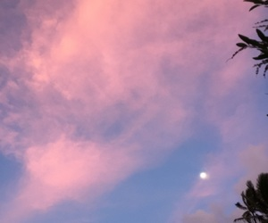 hawaii, moon, and cotton candy skies image