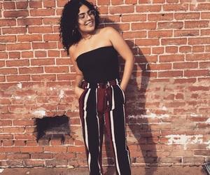brick wall, california, and curly hair image