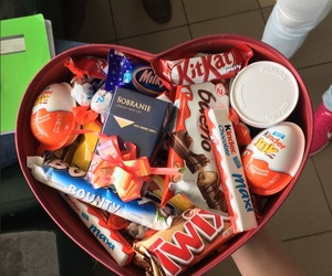 candy, kinder, and red image