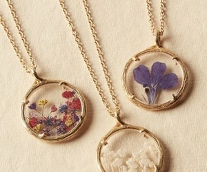 flowers, necklace, and fashion image