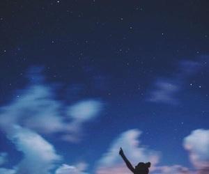 sky, stars, and girl image