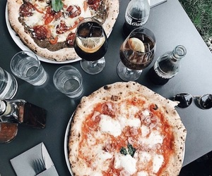 food, drink, and pizza image