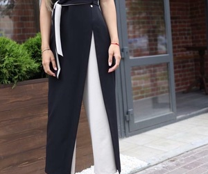 black and white, classy, and culottes image