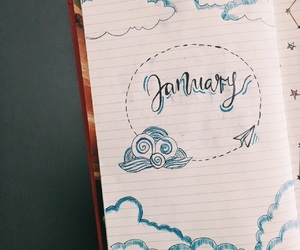 caligraphy, calendar diy, and january doodle image