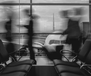 airport, people, and black and white image