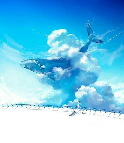 sky, whale, and clouds image