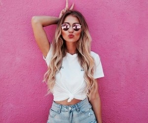 pink, girl, and summer image