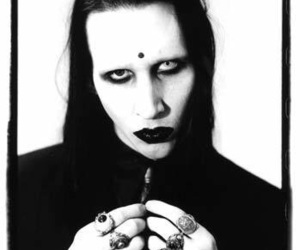 Marilyn Manson, black and white, and celebrity image