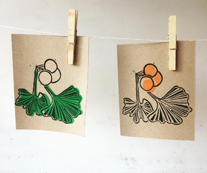 ginkgo, kraft paper, and prints image