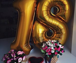 18, balloons, and bouquet image