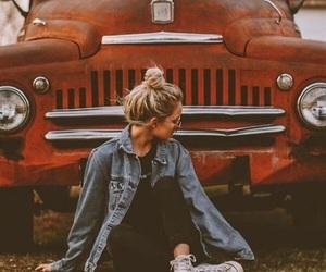 girl, autumn, and car image