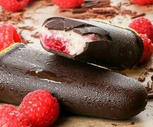 chocolate, ice cream, and raspberry image