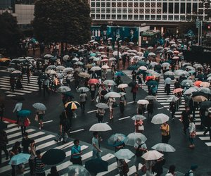 city, japan, and rain image