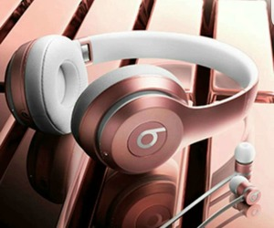 beats, rose gold, and headphones image