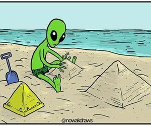 alien, pyramid, and beach image