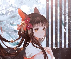 anime girl, fox, and kawaii image