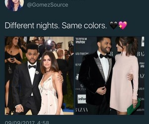 black and pink, selena gomez, and the weeknd image
