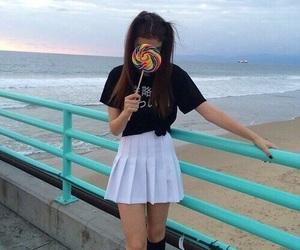 girl, tumblr, and beach image