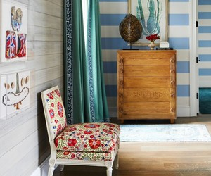 home decor, accent chairs, and wallpapered image