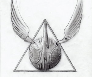 drawing, deathly hallows, and harry potter image