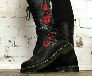 black, boots, and roses image