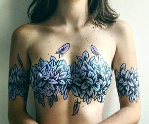 art, body, and flowers image