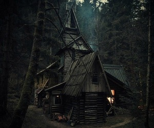 house, forest, and dark image