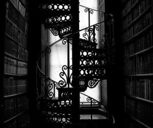 black, black and white, and stairs image