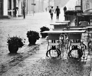 bw, paris, and rain image