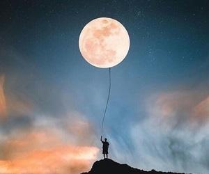 moon, sky, and art image