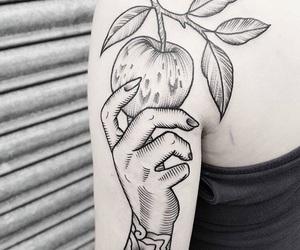 apple, hand, and hehe image