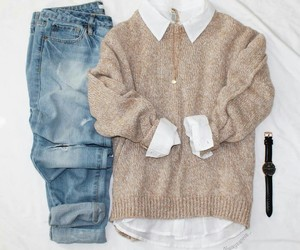 outfit, girl, and sweater image