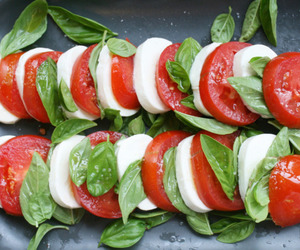 food, tomato, and basil image