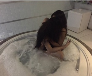 bathtub, love, and girlfriends image