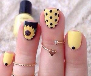 girasol, nails, and yellow image