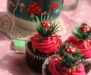 cake, cupcake, and mushrooms image