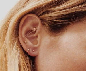 earring, hair, and Piercings image