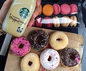 donuts, food, and starbucks image