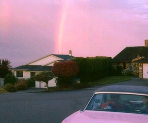 car, pink, and rainbow image