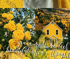 aesthetic, yellow wallpaper, and love quotes image