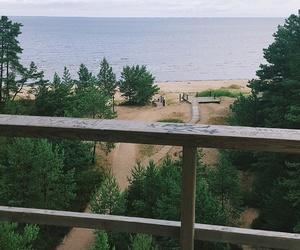 beach, forest, and latvia image