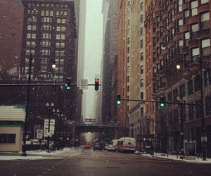 city, snow, and new york image