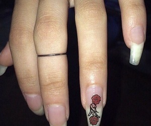 nails, rose, and theme image