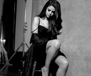 selena gomez, black and white, and selena image